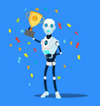robot holds the winner cup in hand vector image