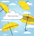 romantic card with umbrella and rain vector image