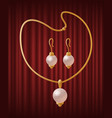 set golden jewelry items with pearls vector image