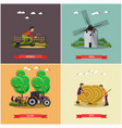 set of farming posters banners in flat vector image
