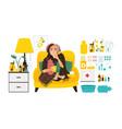 sick woman and big set of flu treatment elements vector image