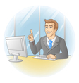 Smiling businessman pointing the finger vector image vector image