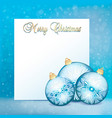 stock christmas greeting card with balls and a vector image vector image