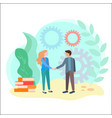 the handshake of partners in business or study vector image