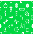 time theme modern simple icons seamless green vector image vector image