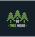 tree house logo line abstract vector image vector image
