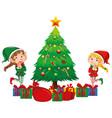 two christmas elves and christmas tree vector image vector image