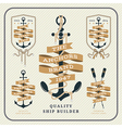 Vintage nautical anchor and ribbon labels set vector image