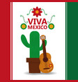viva mexico potted cactus and guitar poster party vector image