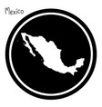 white map of mexico on black circle vector image vector image