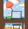 workplace on summer tropical beach flat vector image vector image