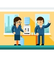 Business people near water cooler vector image