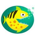 yellow piranha fish flat style vector image