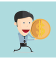 cartoon with dollar coin in flat design vector image