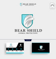 bear shield logo template and business card vector image vector image