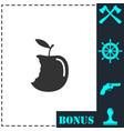 bite apple icon flat vector image vector image