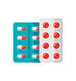 blisters with pills icon in flat style vector image