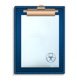 blue clipboard icon realistic style vector image