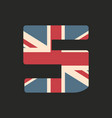capital number five with uk flag texture isolated vector image
