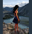 cartoon woman looks at the river valley vector image