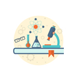 chemical engineering background with flat icon of vector image