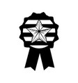 contour emblem with star inside and ribbon design vector image