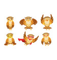 cute owl cartoon characters set adorable funny vector image vector image