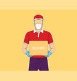 delivery man holding box online shopping vector image vector image