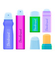 deodorants collection of icons with labels on vector image