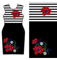 design dress with red poppy and chamomile vector image