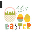 easter basket and lettering vector image