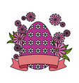 eggs painted with flowers decoration vector image