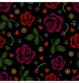 Embroidery pattern with roses flowers vector image