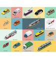 Flat 3d isometric city transport icon set taxi vector image vector image