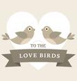 Flying love birds wedding card vector image vector image