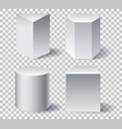 geometric white 3d shapes vector image
