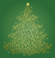 Gold filigree Christmas tree-Green Background vector image vector image