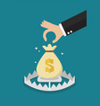 hand try to pick up money in the trap vector image vector image