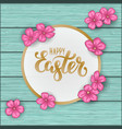 happy easter greeting card with flowers pink daisy vector image vector image