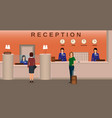 hotel reception interior with employee and guests vector image vector image