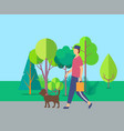 human walking with dog near trees leisure vector image vector image