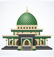 islamic mosque building with green dome isolated o