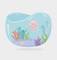 jellyfish seahorse fishes reef water under sea vector image vector image