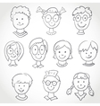 Kids Face Set Sketch vector image vector image