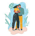 man woman and small bastanding together vector image vector image