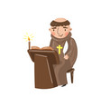 medieval monk scribe character writing a chronicle vector image vector image