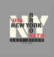 new york brooklyn usa typography t-shirt graphics vector image
