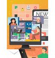online video conference technology flat vector image