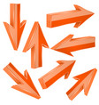 orange 3d arrows set of shiny straight signs vector image vector image
