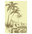 palm trees beach on sea shore mountains vector image vector image